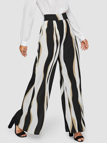 Wide Waist Color Block Wide Leg Pants | Amy's Cart Singapore