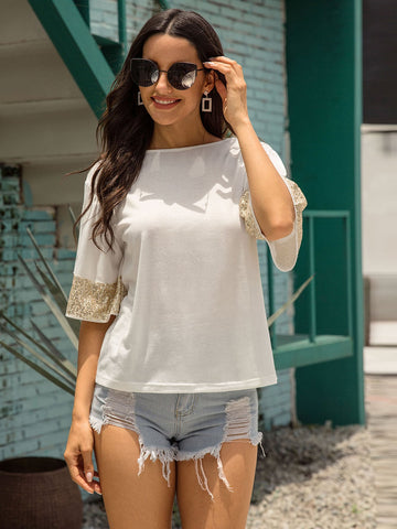 Contrast Sequin Cuff Solid Tee | Amy's Cart Singapore