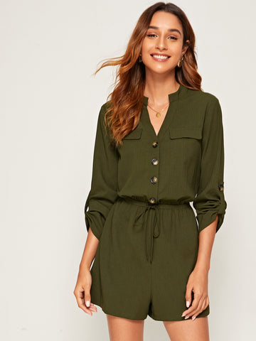 Notch Neck Roll Tab Sleeve Drawstring Waist Romper | Amy's Cart Singapore