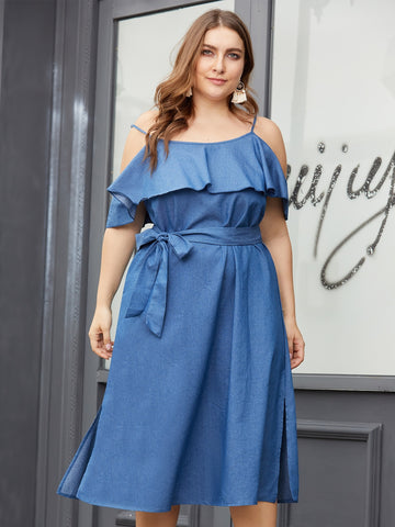 Plus Cold-shoulder Split Side Self Tie Denim Dress | Amy's Cart Singapore