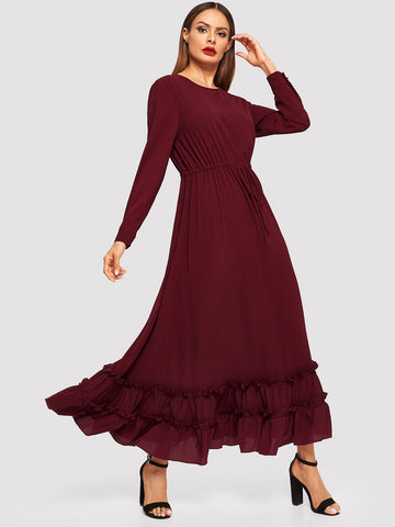 Keyhole Back Drawstring Waist Frilled Hijab Dress | Amy's Cart Singapore