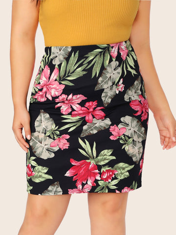 Plus Floral Print Pencil Skirt | Amy's Cart Singapore