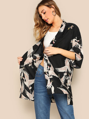 Crane Bird Print Side Slit Kimono | Amy's Cart Singapore