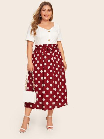 Plus Polka Dot Tie Front Paperbag Skirt | Amy's Cart Singapore