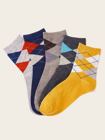 Men Plaid Pattern Socks 5pairs | Amy's Cart Singapore