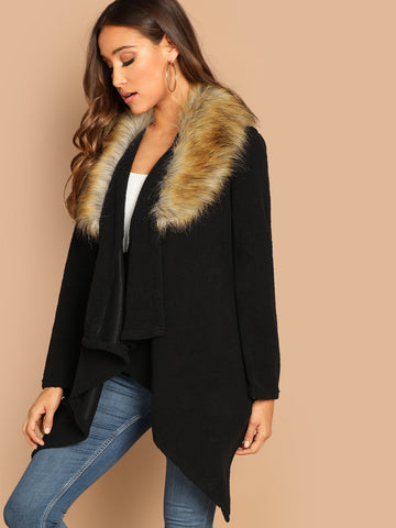 Waterfall Collar Hanky Hem Contrast Faux Fur Coat | Amy's Cart Singapore