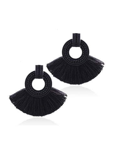 Tassel Decorated Hoop Drop Earrings 1pair | Amy's Cart Singapore