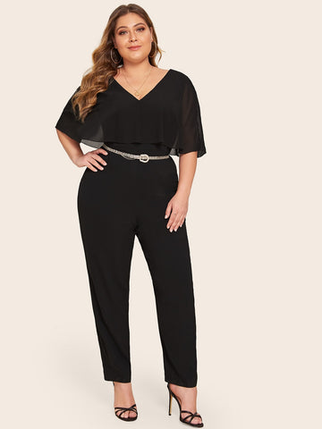 Plus Double V-neck Chiffon Ruffle Trim Jumpsuit | Amy's Cart Singapore