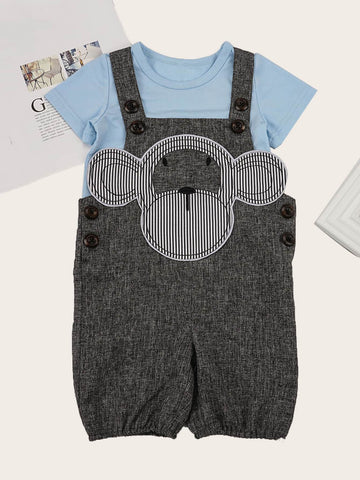 Baby Top With Cartoon Patched Overalls | Amy's Cart Singapore