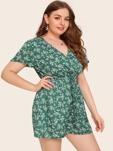 Plus Ditsy Floral Drawstring Waist Surplice Neck Romper | Amy's Cart Singapore