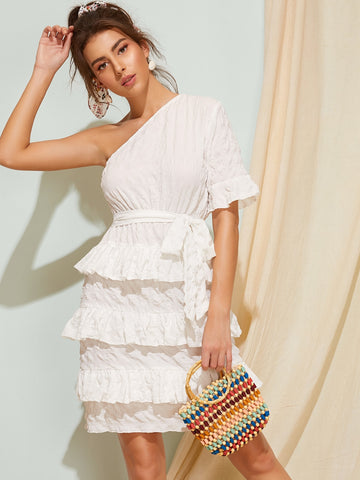 One Shoulder Solid Belted Dress | Amy's Cart Singapore