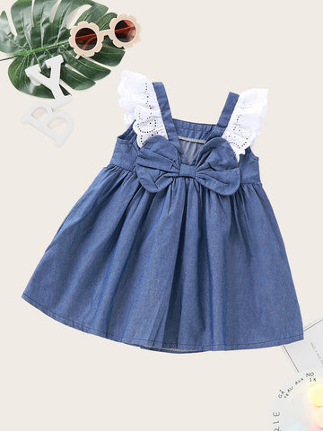Baby Contrast Schffiy Bow Back A-line Denim Dress | Amy's Cart Singapore