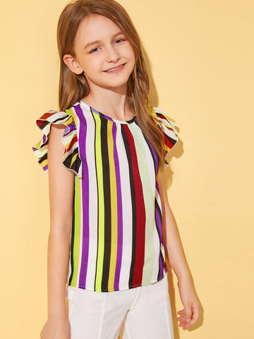 Girls Ruffle Armhole Striped Top | Amy's Cart Singapore