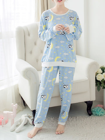 Contrast Trim Cartoon Print Pullover & Pants Pj Set | Amy's Cart Singapore