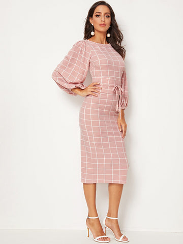 Lantern Sleeve Corset Waist Grid Pencil Dress | Amy's Cart Singapore