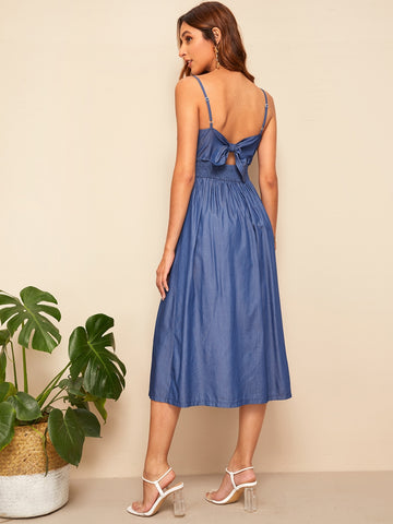 Bow Tie Back Button Front Spaghetti Strap Denim Dress | Amy's Cart Singapore