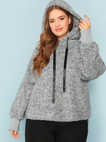 Plus Heather Grey Teddy Hoodie | Amy's Cart Singapore