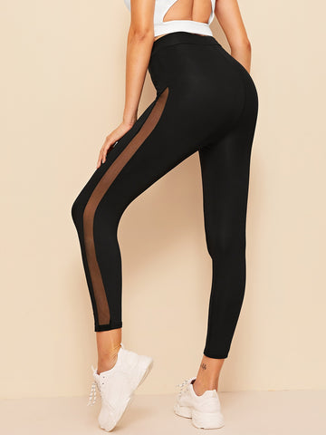High Waist Mesh Insert Leggings | Amy's Cart Singapore