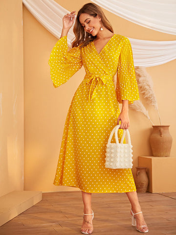 Polka Dot Bell Sleeve Belted Dress | Amy's Cart Singapore