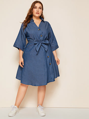 Plus Solid Button Front Belted Denim Dress | Amy's Cart Singapore