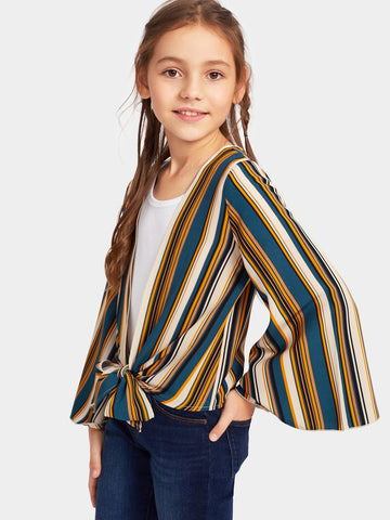 Girls Colorblock Knot Hem Bell Sleeve Striped Kimono | Amy's Cart Singapore