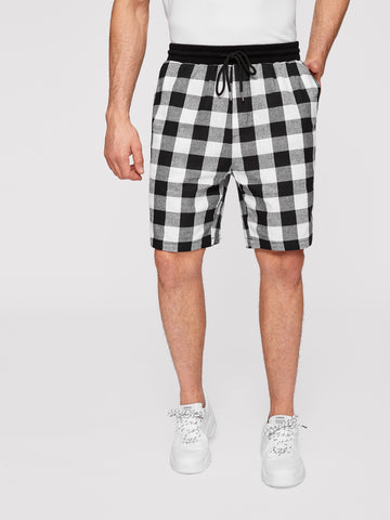 Men Solid Drawstring Waist Gingham Shorts | Amy's Cart Singapore