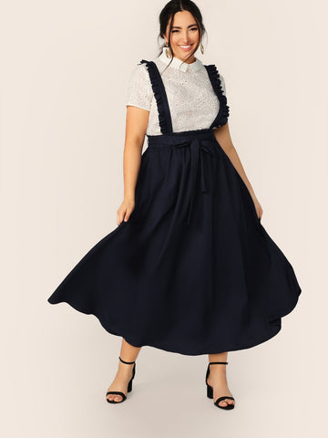 Plus Paperbag Waist Frill Strap Flare Skirt | Amy's Cart Singapore