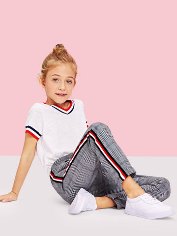 Girls Striped Side Plaid Pants | Amy's Cart Singapore