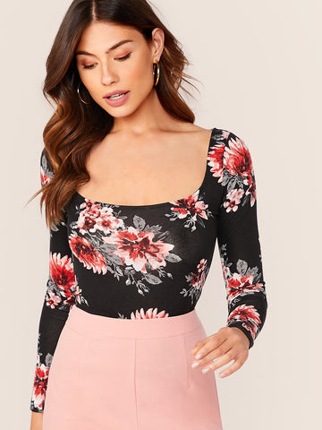 Scoop Neck Floral Print Form Fitted Top | Amy's Cart Singapore
