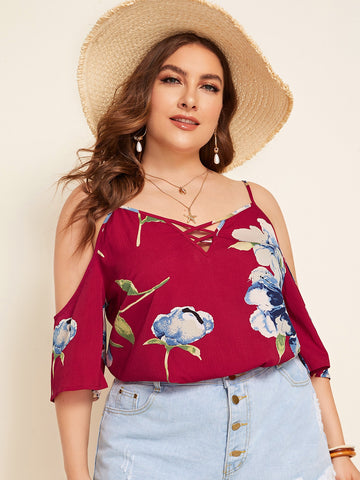 Plus Cold Shoulder Strappy Neck Floral Top | Amy's Cart Singapore