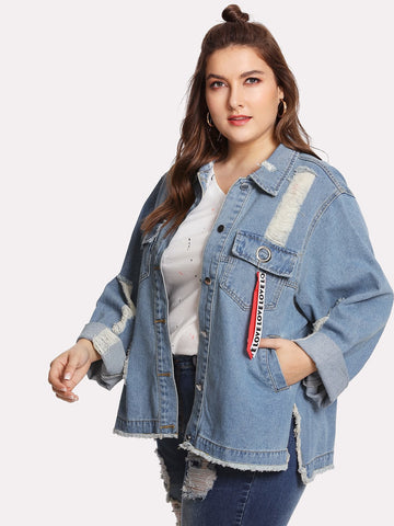 Plus Letter Ribbon Detail Raw Hem Denim Jacket | Amy's Cart Singapore