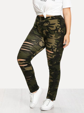 Plus Camouflage Ladder Ripped Legging | Amy's Cart Singapore