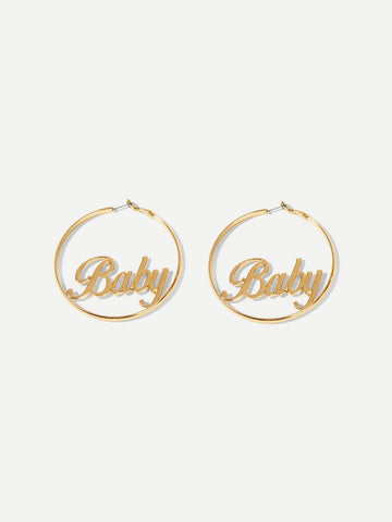 Letter Decorated Hoop Earrings 1pair | Amy's Cart Singapore