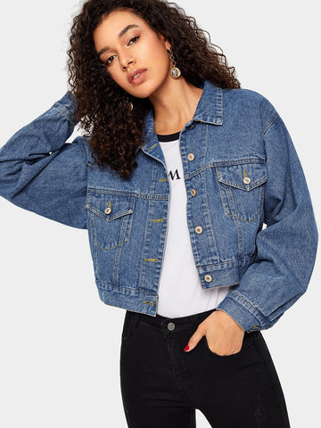 Bleach Wash Crop Denim Jacket | Amy's Cart Singapore