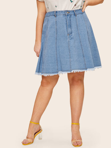 Plus Raw Hem Denim Skirt | Amy's Cart Singapore