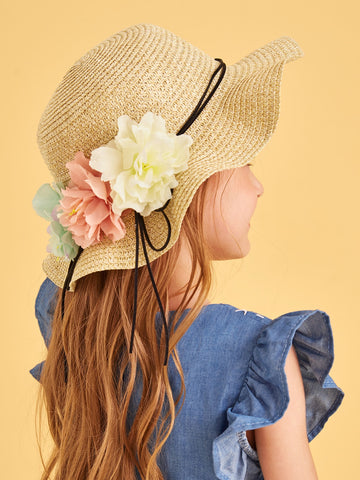 Toddler Girls  Flower Decor Floppy Hat | Amy's Cart Singapore