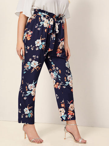 Plus Floral Paperbag Waist Belted Pants | Amy's Cart Singapore