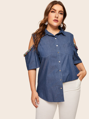 Plus Cold Shoulder Contrast Taped Denim Blouse | Amy's Cart Singapore