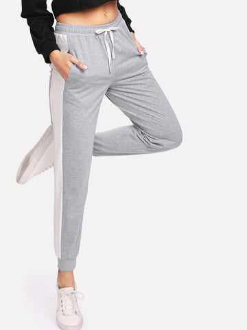 Contrast Panel Heather Knit Drawstring Sweatpants | Amy's Cart Singapore