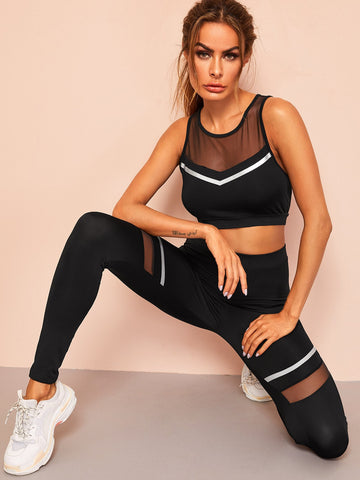 Mesh Insert Striped Sports Bra and Leggings Set | Amy's Cart Singapore