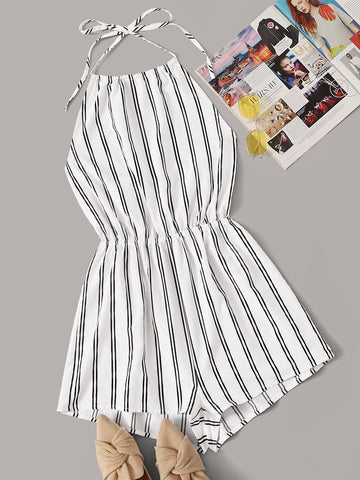 Elastic Waist Tie Back Striped Halter Romper | Amy's Cart Singapore