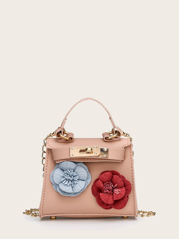Kids Floral Applique Satchel Bag | Amy's Cart Singapore