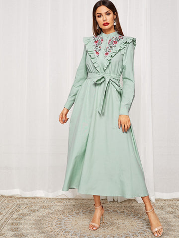 Embroidered Yoke Buttoned Front Belted Hijab Dress | Amy's Cart Singapore