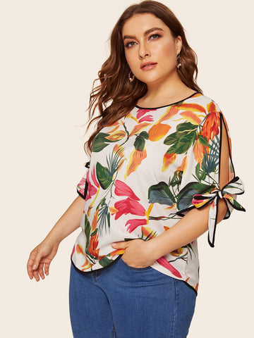 Plus Floral Print Knot Side Blouse | Amy's Cart Singapore