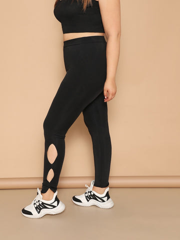 Plus High Waist Cutout Side Leggings | Amy's Cart Singapore
