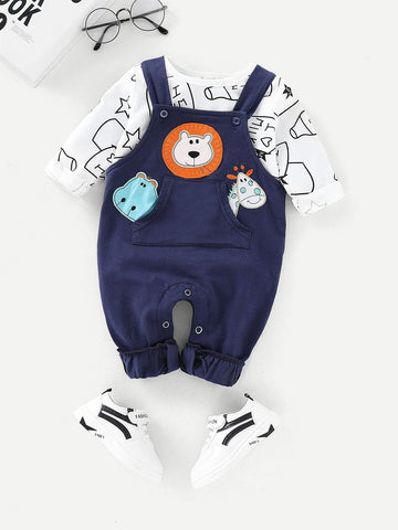 Baby Letter Print Tee With Cartoon Embroidery Overalls | Amy's Cart Singapore