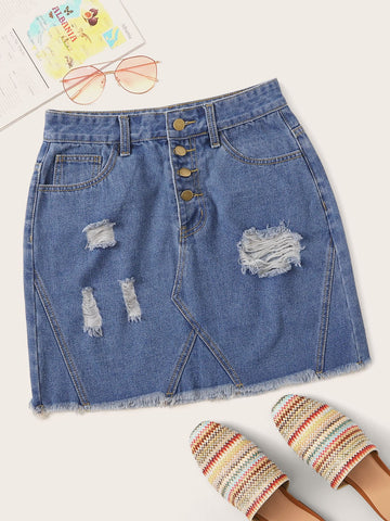 Ripped Raw Hem Button Front Denim Skirt | Amy's Cart Singapore