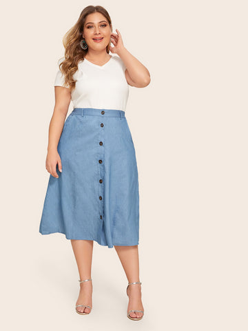 Plus Button Front High Waist Denim Skirt | Amy's Cart Singapore