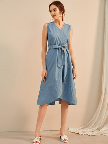 Ruffle Trim Self Tie Wrap Denim Dress | Amy's Cart Singapore
