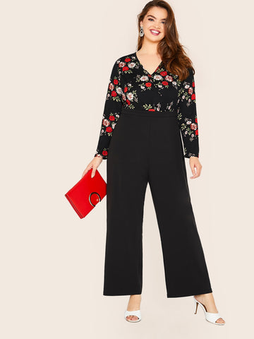 Plus Floral Print Straight Leg Combo Jumpsuit | Amy's Cart Singapore